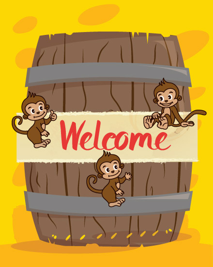 welcome card barrel of monkeys