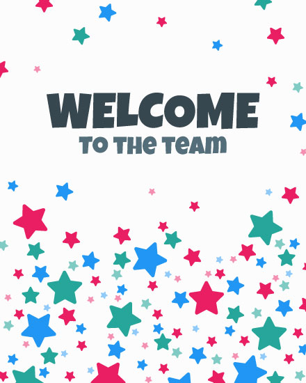 welcome card multi color stars