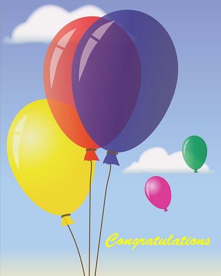 congratulations card balloons sky