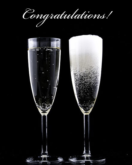 congratulations card champagne glasses